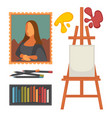 art equipment set and masterpiece colorful vector image vector image