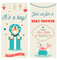 bashower double invitation card with a cute vector image vector image