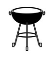 bbq grill front view black silhouette vector image vector image