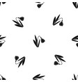 bell flower pattern seamless black vector image vector image