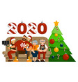 big family celebration christmas or new year vector image vector image