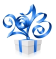 blue ribbon in shape 2013 vector image