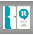 Business card template letter R vector image vector image