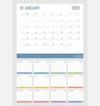 calendar for 2020 starts sunday calendar vector image