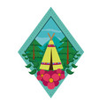 camping at forest with tent vector image