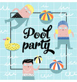 childish design with cute boys in swimming pool vector image vector image