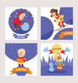 christmas kids playing winter games skating vector image vector image