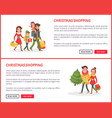 christmas shopping poster couple and children vector image vector image