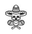 cinco de mayo skull sambrero silhouette vector image vector image