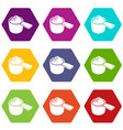 detergent dose icons set 9 vector image