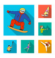 different kinds of sports flat icons in set vector image