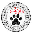 dog paw heart love sign icon pets symbol textured vector image vector image