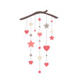 elegant wall hanging banner with stars hearts and vector image