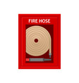 emergency fire hose inside red metal wall box with vector image vector image