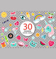 fashion set patches 80s comic style pins vector image vector image