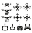 flying drone flat icons on white background vector image vector image
