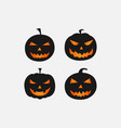 halloween scary pumpkins isolated on white image vector image