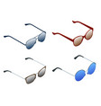 isometric set sunglasses isolated on white vector image