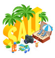 isometric summer sale promo web banner template vector image vector image