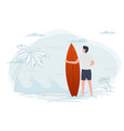 man on a beach holding surfboard vector image vector image
