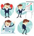 Office man set showing a presentation Happy worker vector image
