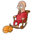 Old man with cat vector image vector image