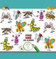 one a kind game for children with happy insects vector image vector image