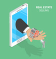 online real estate selling isometric flat vector image vector image