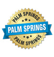 Palm Springs round golden badge with blue ribbon vector image