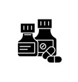 pills black icon sign on isolated vector image