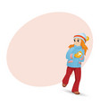 pretty girl making snowball and place for text vector image vector image