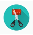 Red credit card cutting by the scissors vector image vector image