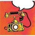 Retro phone ringing in comic vector image
