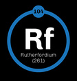 Rutherfordium chemical element vector image vector image