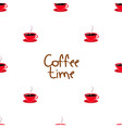 seamless of coffee time with cups vector image vector image