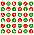 set of christmas icons on color background vector image