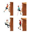 set scene men climbing on a rock mountain with vector image vector image