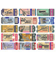 ticket templates music concert with instruments vector image vector image