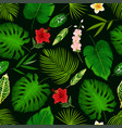 tropical flower and palm leaf seamless pattern vector image vector image