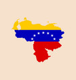 venezuela map with flag inside vector image