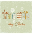 Vintage Christmas card with gifts and snowflakes vector image vector image