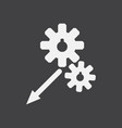 White icon on black background two gears
