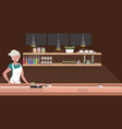 woman cafe waitress barista in apron standing at vector image vector image