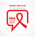 world aids day greeting- 1 december vector image vector image