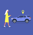 young female character using a car sharing mobile vector image