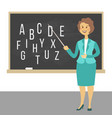 young female teacher on lesson at blackboard in vector image