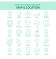 25 green map and location icon set vector image