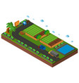 3d design for vegetables growing on farmland vector image vector image