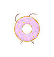 alarm clock donut breakfast time vector image