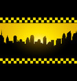 background with evening city silhouette and taxi vector image vector image